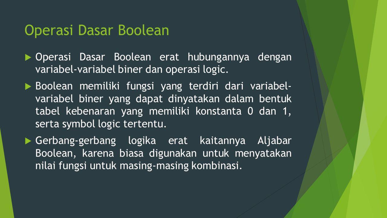 Operasi Dasar Boolean Operasi Dasar Boolean erat hubungannya dengan variabel-variabel biner dan operasi logic.