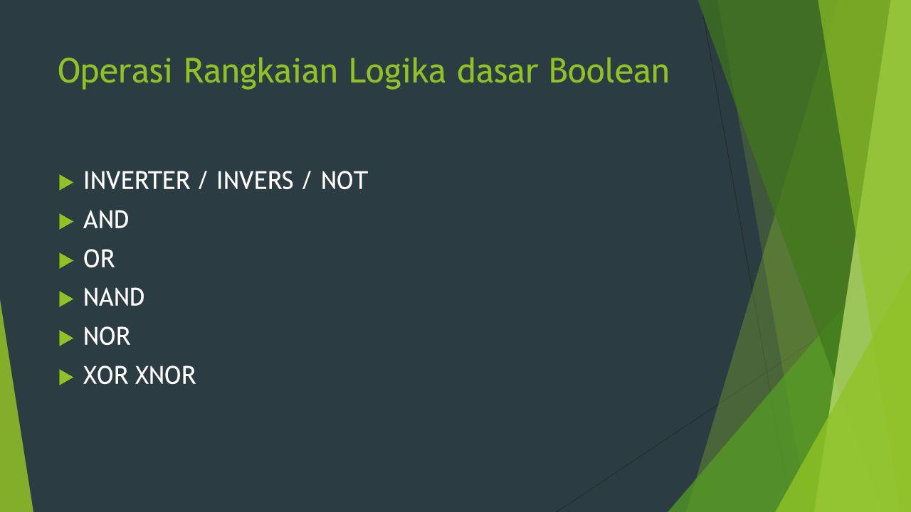 Operasi Rangkaian Logika dasar Boolean