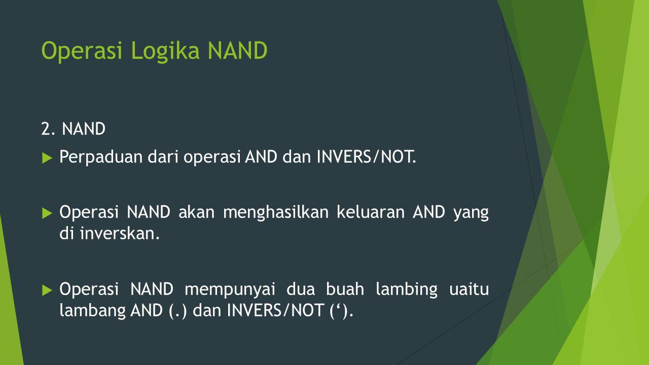 Operasi Logika NAND 2. NAND Perpaduan dari operasi AND dan INVERS/NOT.