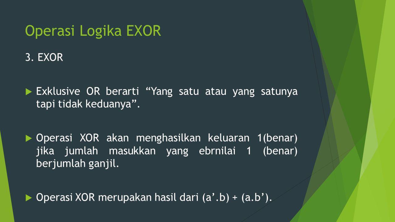 Operasi Logika EXOR 3. EXOR