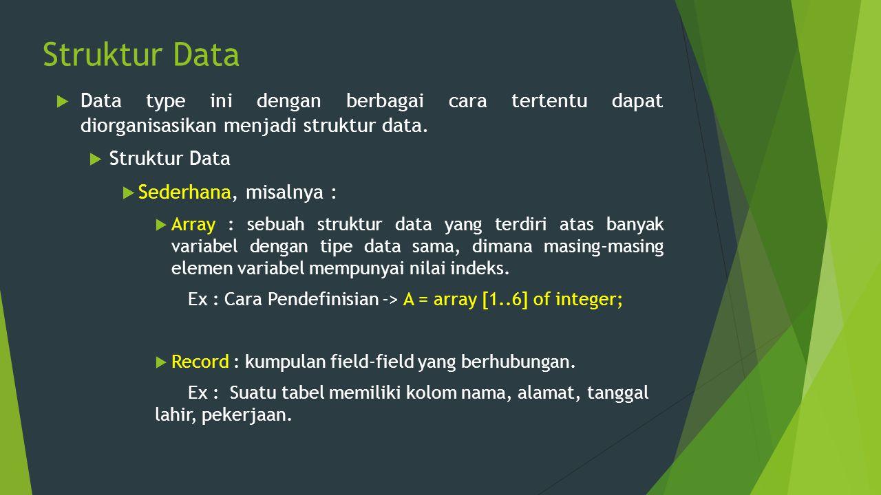 Struktur Data Data type ini dengan berbagai cara tertentu dapat diorganisasikan menjadi struktur data.