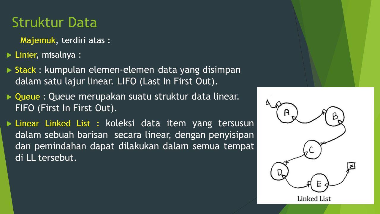 Struktur Data Majemuk, terdiri atas : Linier, misalnya :