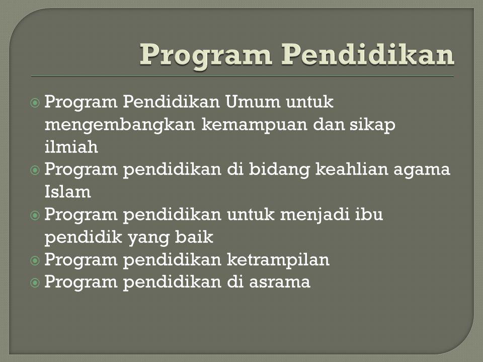 Program Pendidikan Program Pendidikan Umum untuk mengembangkan kemampuan dan sikap ilmiah. Program pendidikan di bidang keahlian agama Islam.