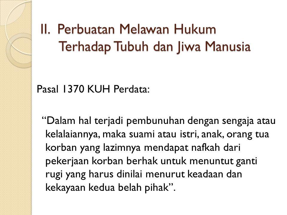 II. Perbuatan Melawan Hukum Terhadap Tubuh dan Jiwa Manusia