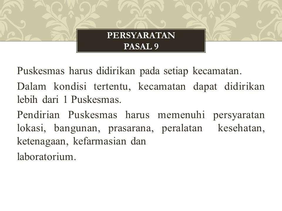 PERSYARATAN Pasal 9