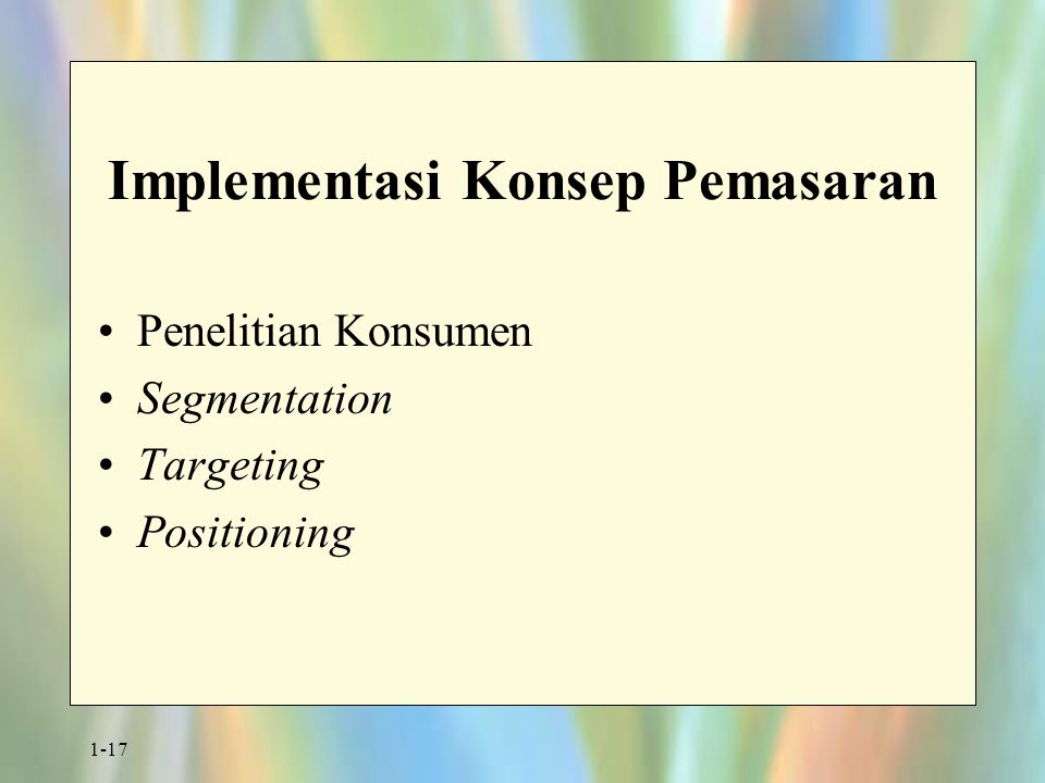 Implementasi Konsep Pemasaran