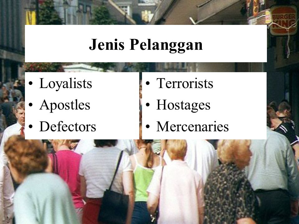 Jenis Pelanggan Loyalists Apostles Defectors Terrorists Hostages