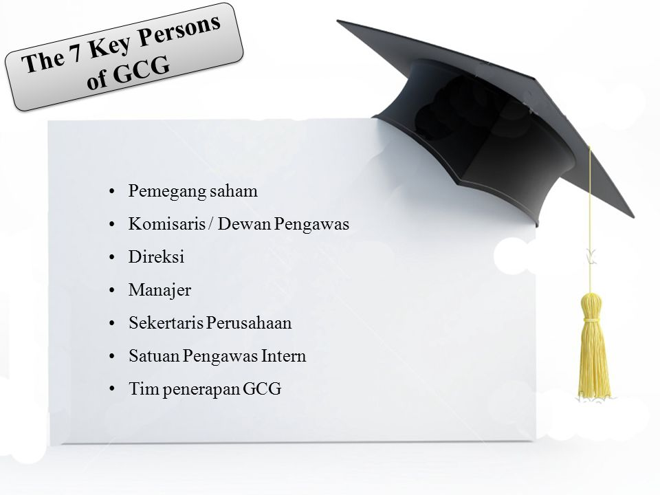 The 7 Key Persons of GCG Pemegang saham Komisaris / Dewan Pengawas