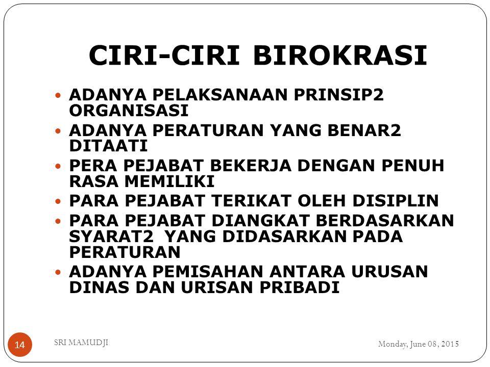 CIRI-CIRI BIROKRASI ADANYA PELAKSANAAN PRINSIP2 ORGANISASI