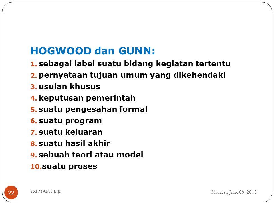 HOGWOOD dan GUNN: sebagai label suatu bidang kegiatan tertentu