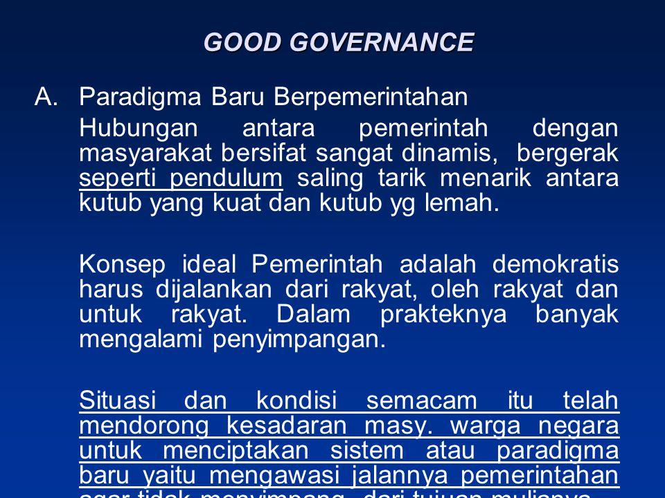 GOOD GOVERNANCE Paradigma Baru Berpemerintahan.