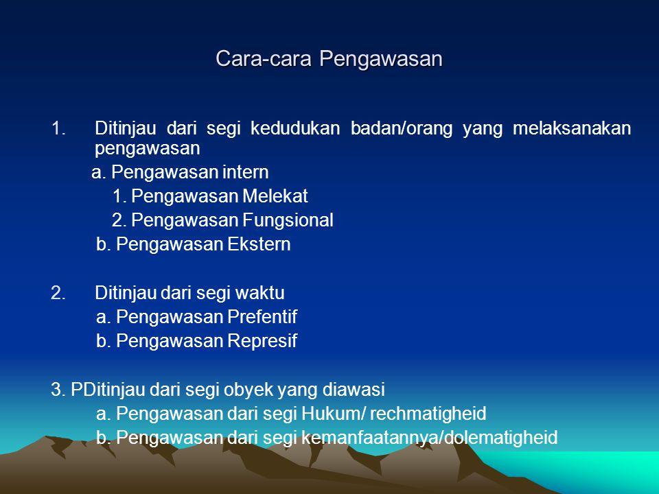 Cara-cara Pengawasan Ditinjau dari segi kedudukan badan/orang yang melaksanakan pengawasan. a. Pengawasan intern.