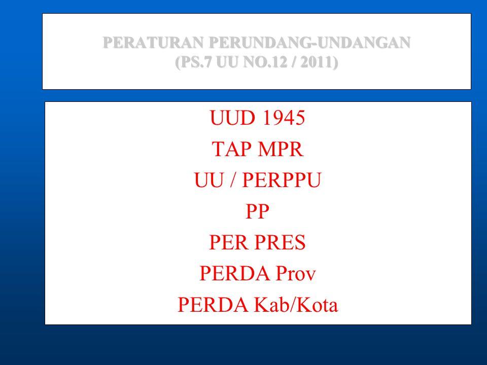 PERATURAN PERUNDANG-UNDANGAN (PS.7 UU NO.12 / 2011)