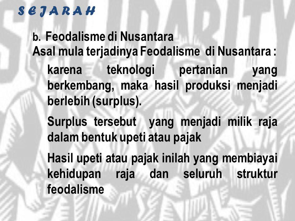 S E J A R A H Feodalisme di Nusantara. Asal mula terjadinya Feodalisme di Nusantara :
