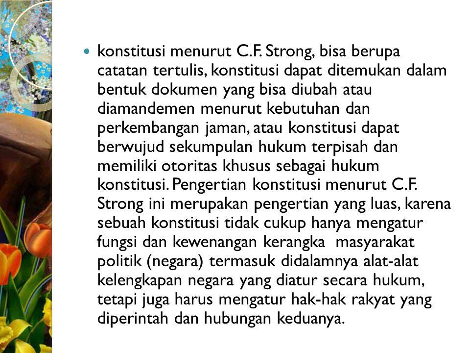 konstitusi menurut C.F.