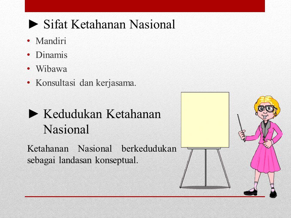 ► Sifat Ketahanan Nasional