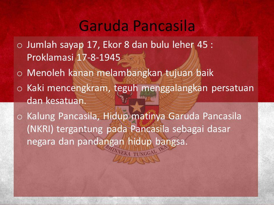 Garuda Pancasila Jumlah sayap 17, Ekor 8 dan bulu leher 45 : Proklamasi 17-8-1945. Menoleh kanan melambangkan tujuan baik.