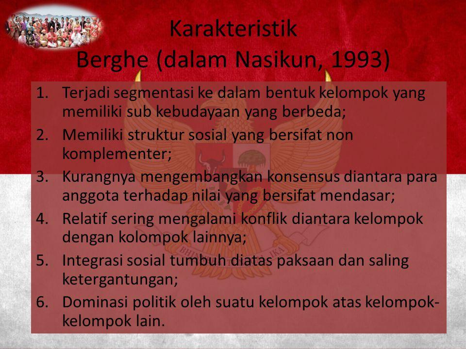 Karakteristik Berghe (dalam Nasikun, 1993)