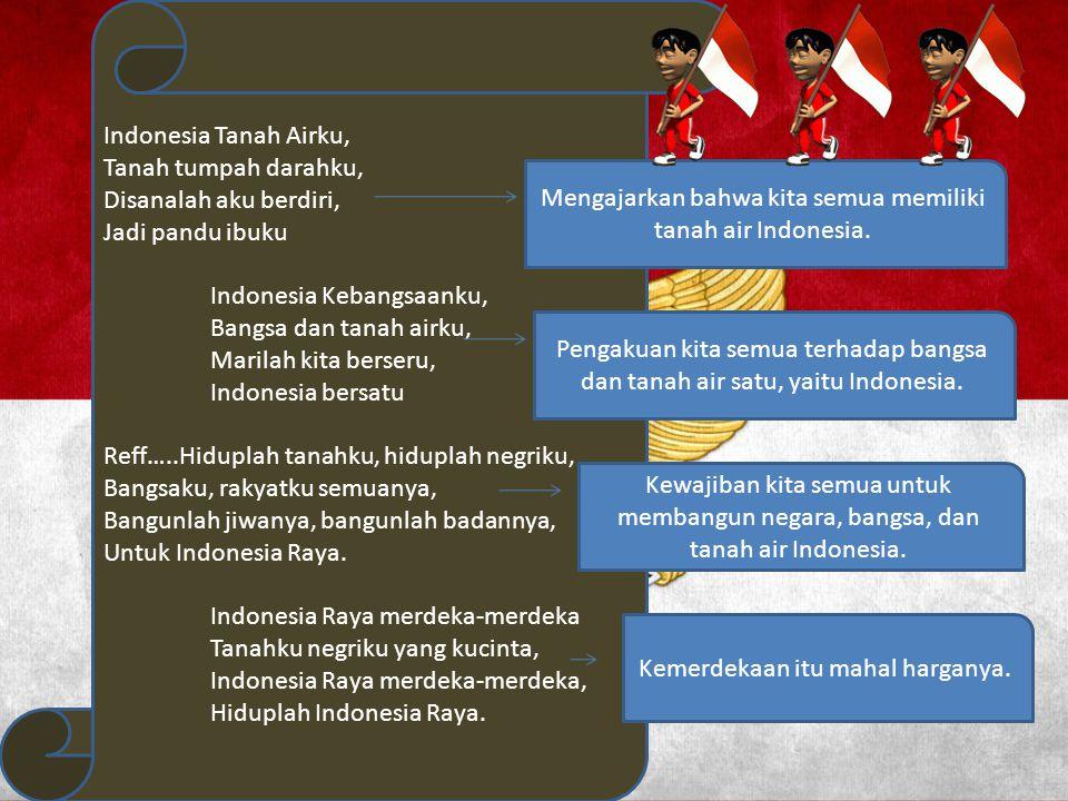 Indonesia Kebangsaanku, Bangsa dan tanah airku, Marilah kita berseru,