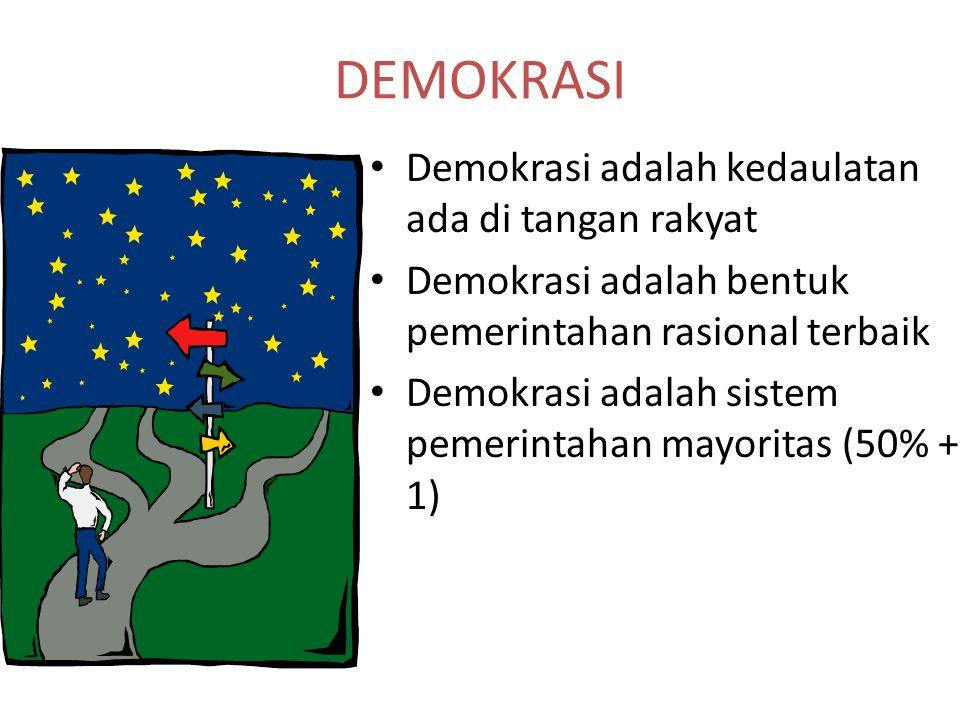 DEMOKRASI Demokrasi adalah kedaulatan ada di tangan rakyat