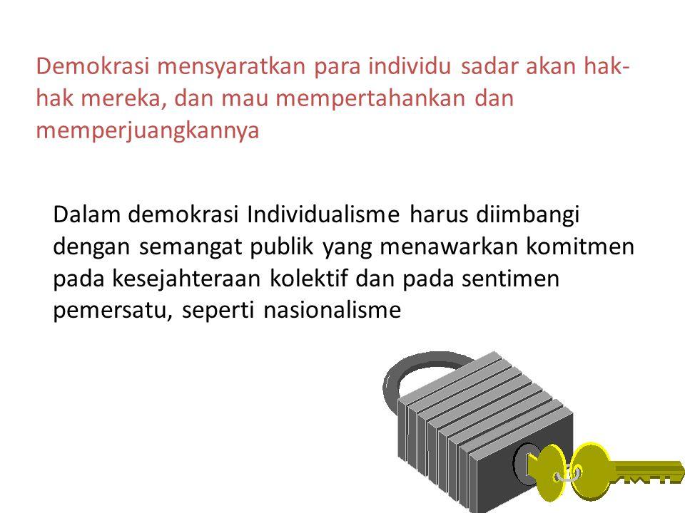 Demokrasi mensyaratkan para individu sadar akan hak-hak mereka, dan mau mempertahankan dan memperjuangkannya