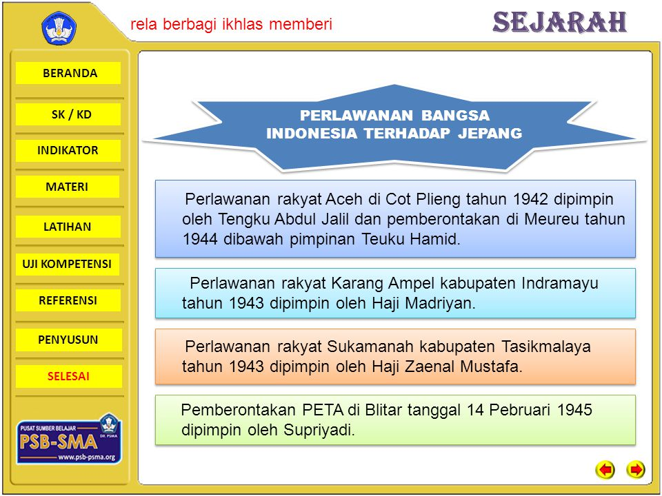 PERLAWANAN BANGSA INDONESIA TERHADAP JEPANG