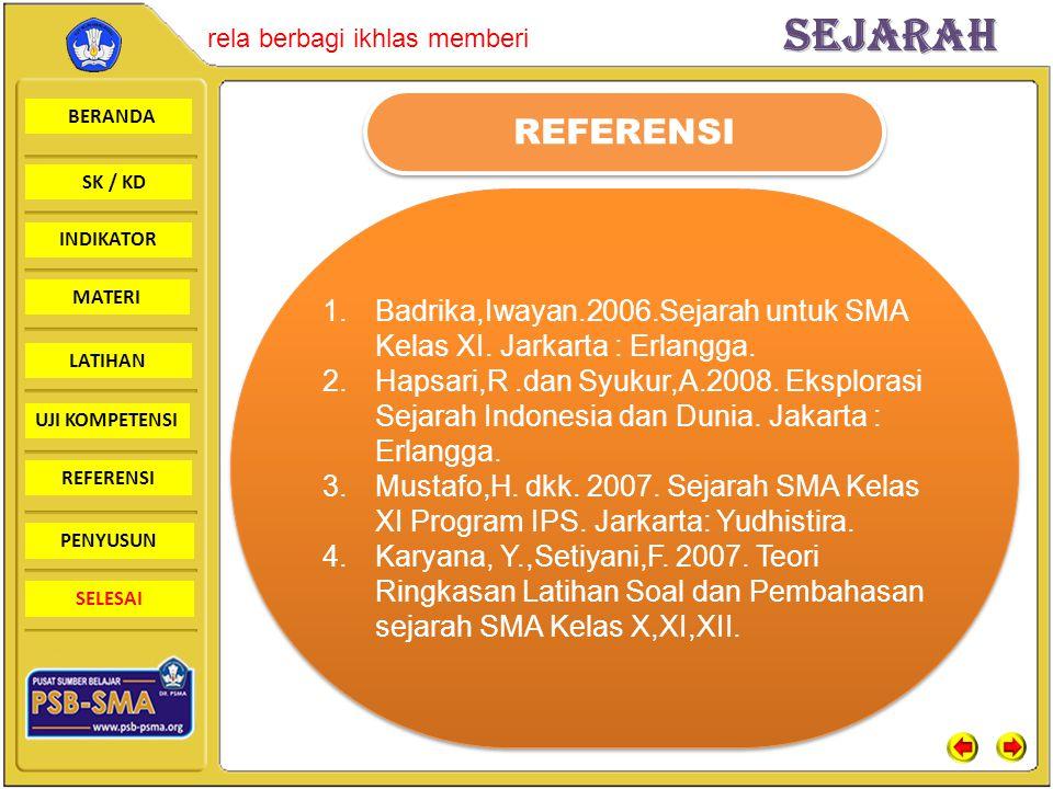 REFERENSI Badrika,Iwayan.2006.Sejarah untuk SMA Kelas XI. Jarkarta : Erlangga.