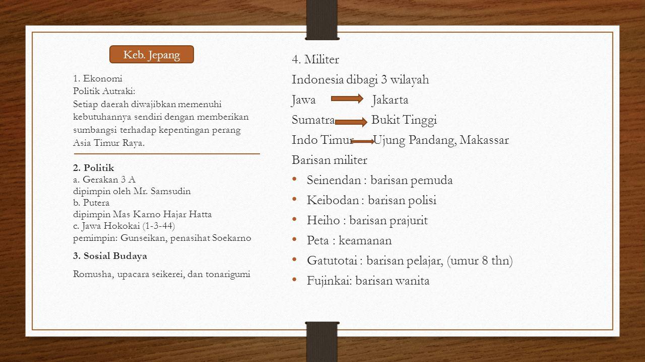 Indonesia dibagi 3 wilayah Jawa Jakarta Sumatra Bukit Tinggi