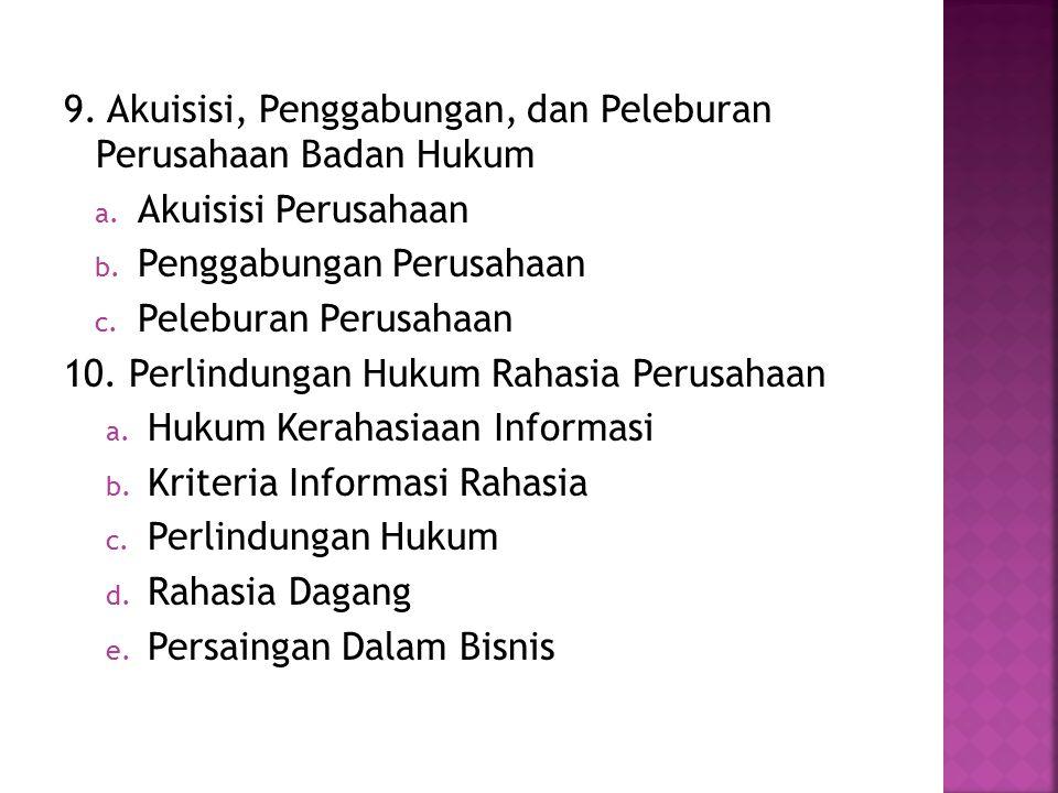 9. Akuisisi, Penggabungan, dan Peleburan Perusahaan Badan Hukum