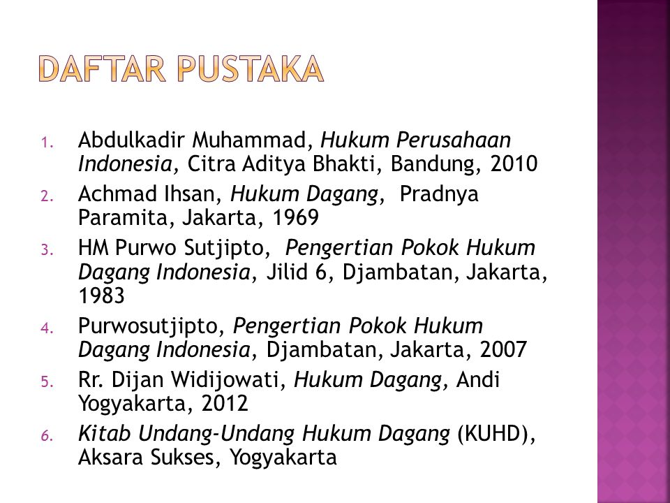 Daftar Pustaka Abdulkadir Muhammad, Hukum Perusahaan Indonesia, Citra Aditya Bhakti, Bandung, 2010.