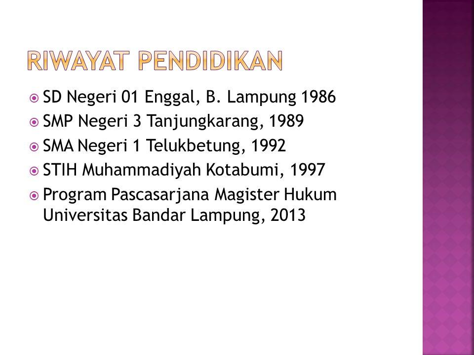 RIWAYAT PENDIDIKAN SD Negeri 01 Enggal, B. Lampung 1986