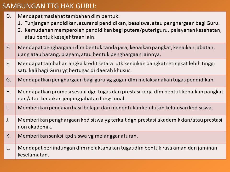 SAMBUNGAN TTG HAK GURU: