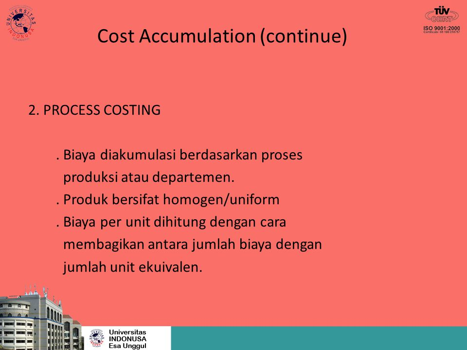 Cost Accumulation (continue)
