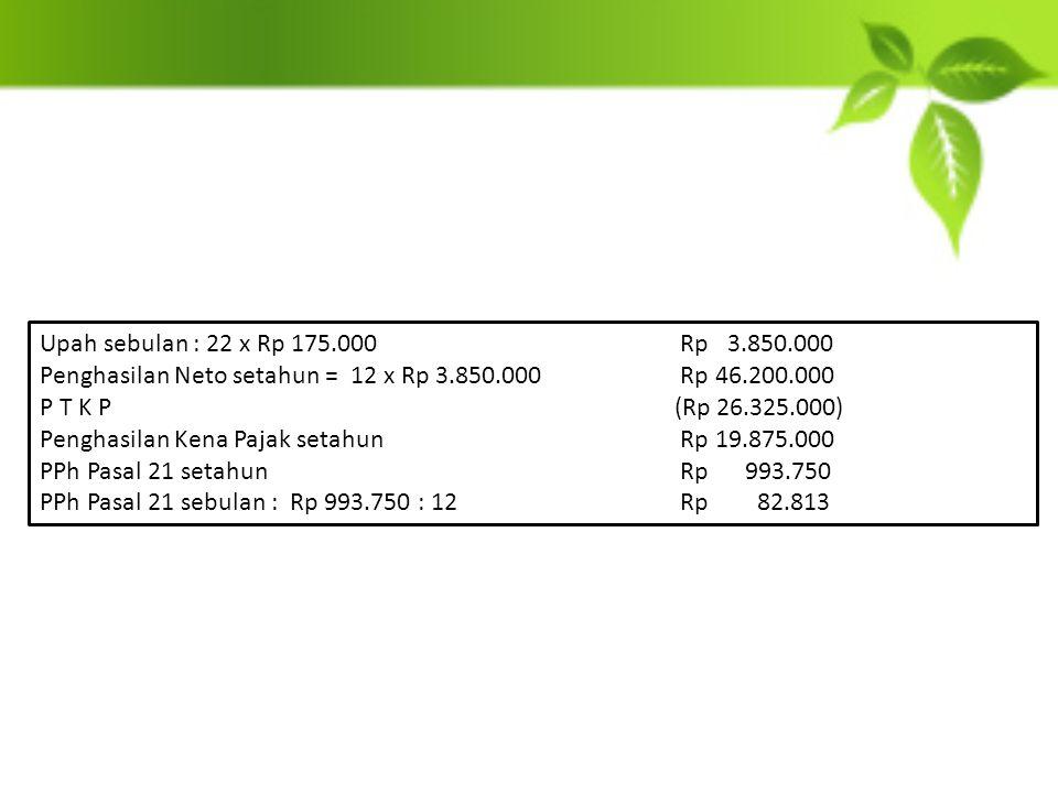 Upah sebulan : 22 x Rp 175.000 Rp 3.850.000 Penghasilan Neto setahun = 12 x Rp 3.850.000 Rp 46.200.000.
