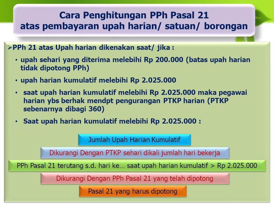 Cara Penghitungan PPh Pasal 21 atas pembayaran upah harian/ satuan/ borongan
