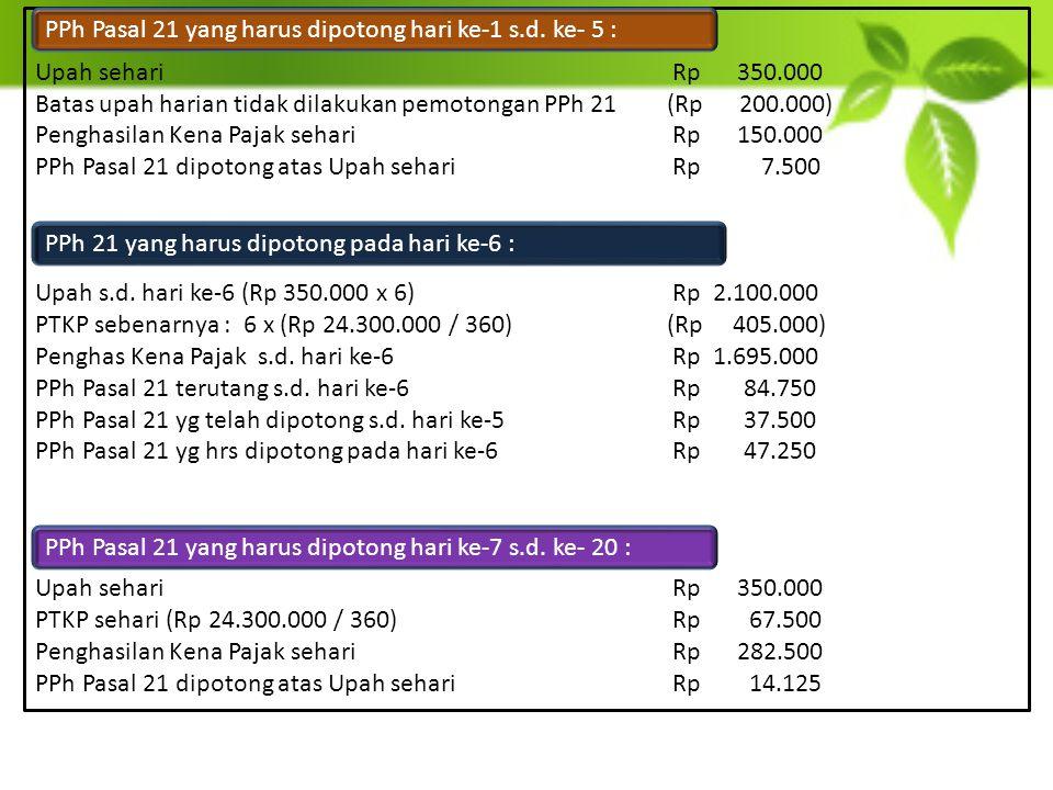 Upah sehari Rp 350.000 Batas upah harian tidak dilakukan pemotongan PPh 21 (Rp 200.000)
