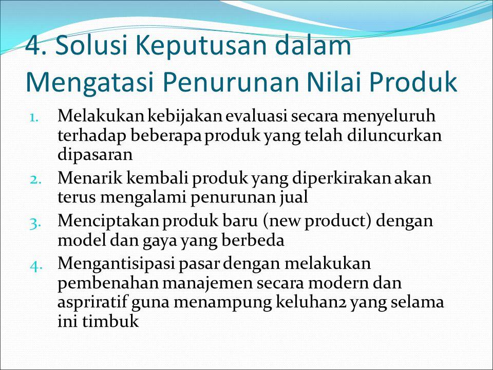 4. Solusi Keputusan dalam Mengatasi Penurunan Nilai Produk