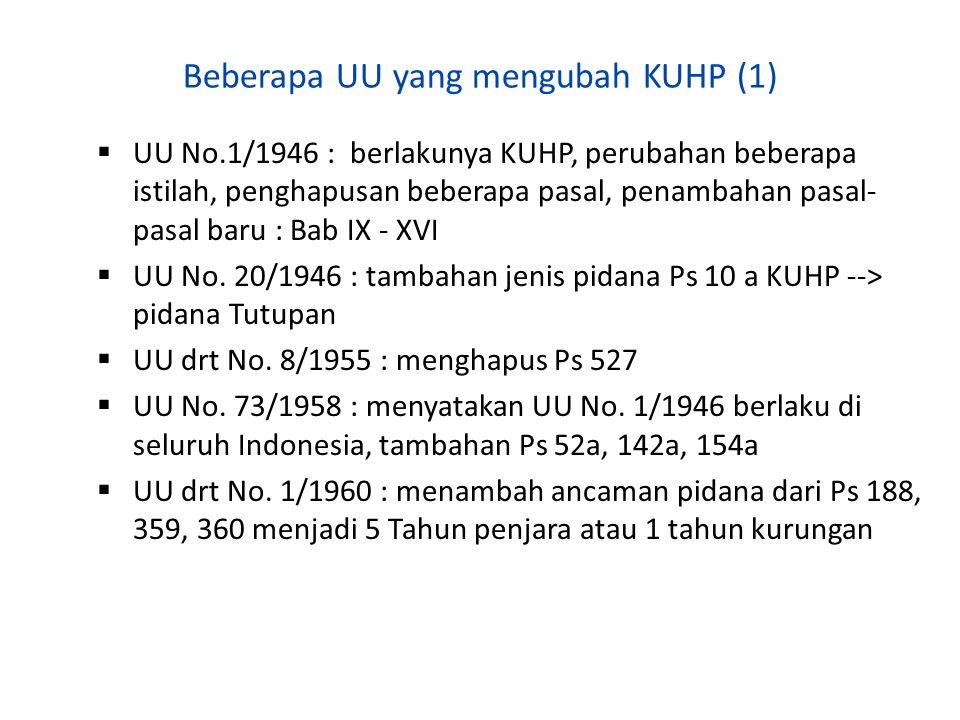 Beberapa UU yang mengubah KUHP (1)