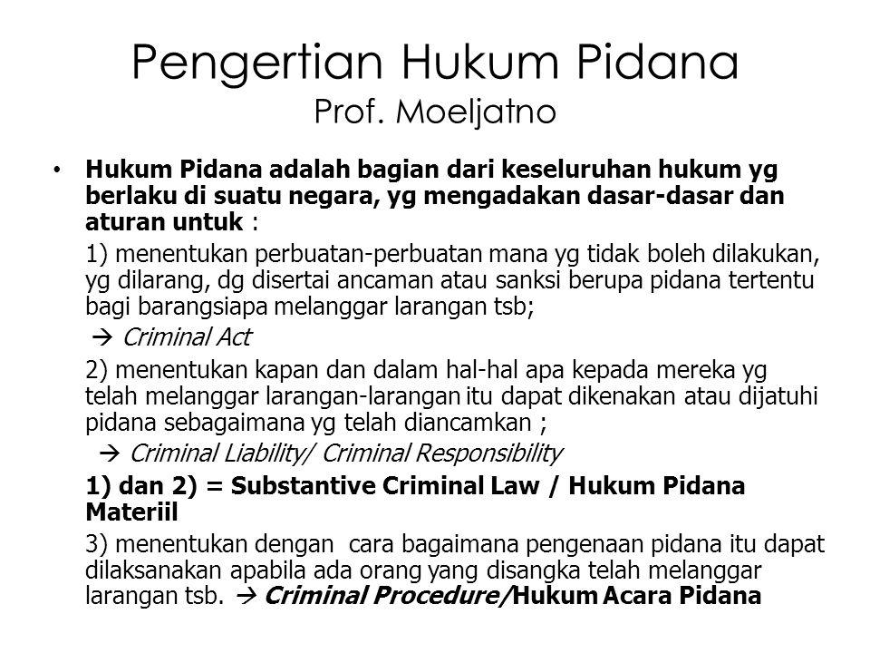 Pengertian Hukum Pidana Prof. Moeljatno