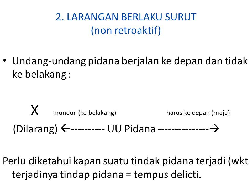 2. LARANGAN BERLAKU SURUT (non retroaktif)