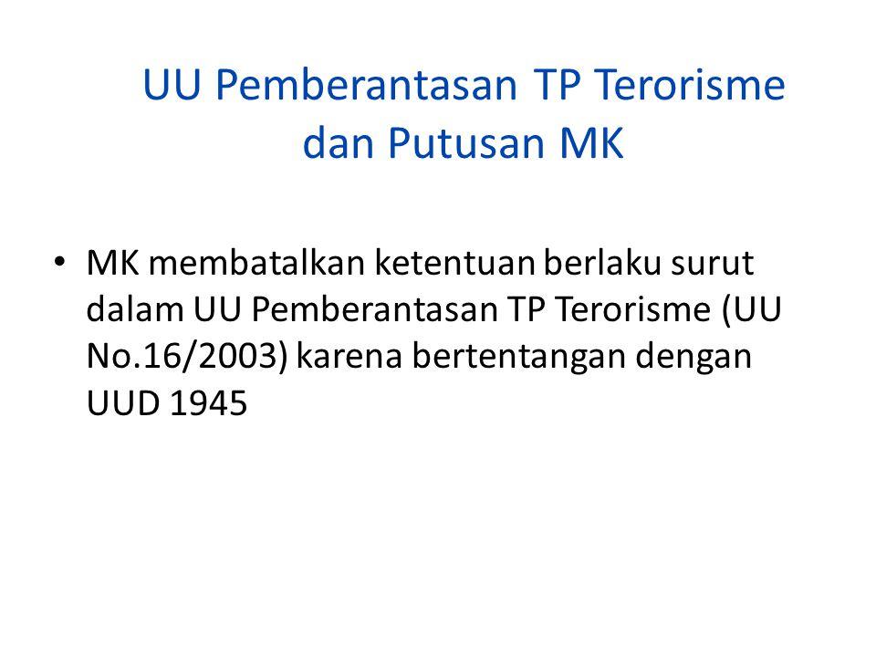UU Pemberantasan TP Terorisme dan Putusan MK