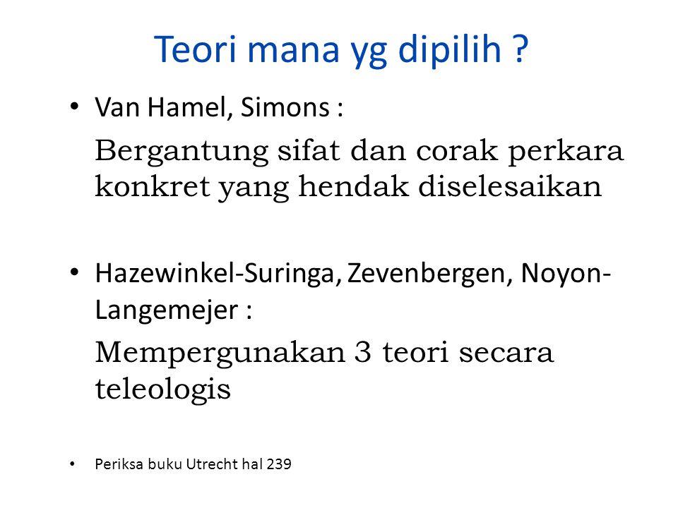 Teori mana yg dipilih Van Hamel, Simons :