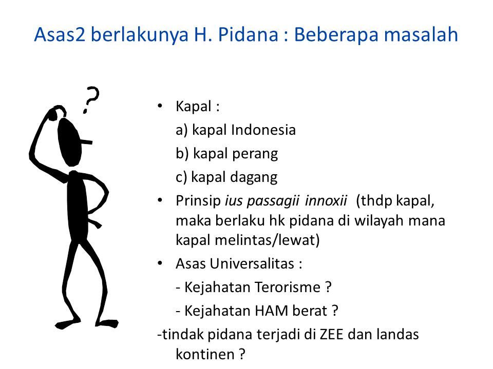 Asas2 berlakunya H. Pidana : Beberapa masalah