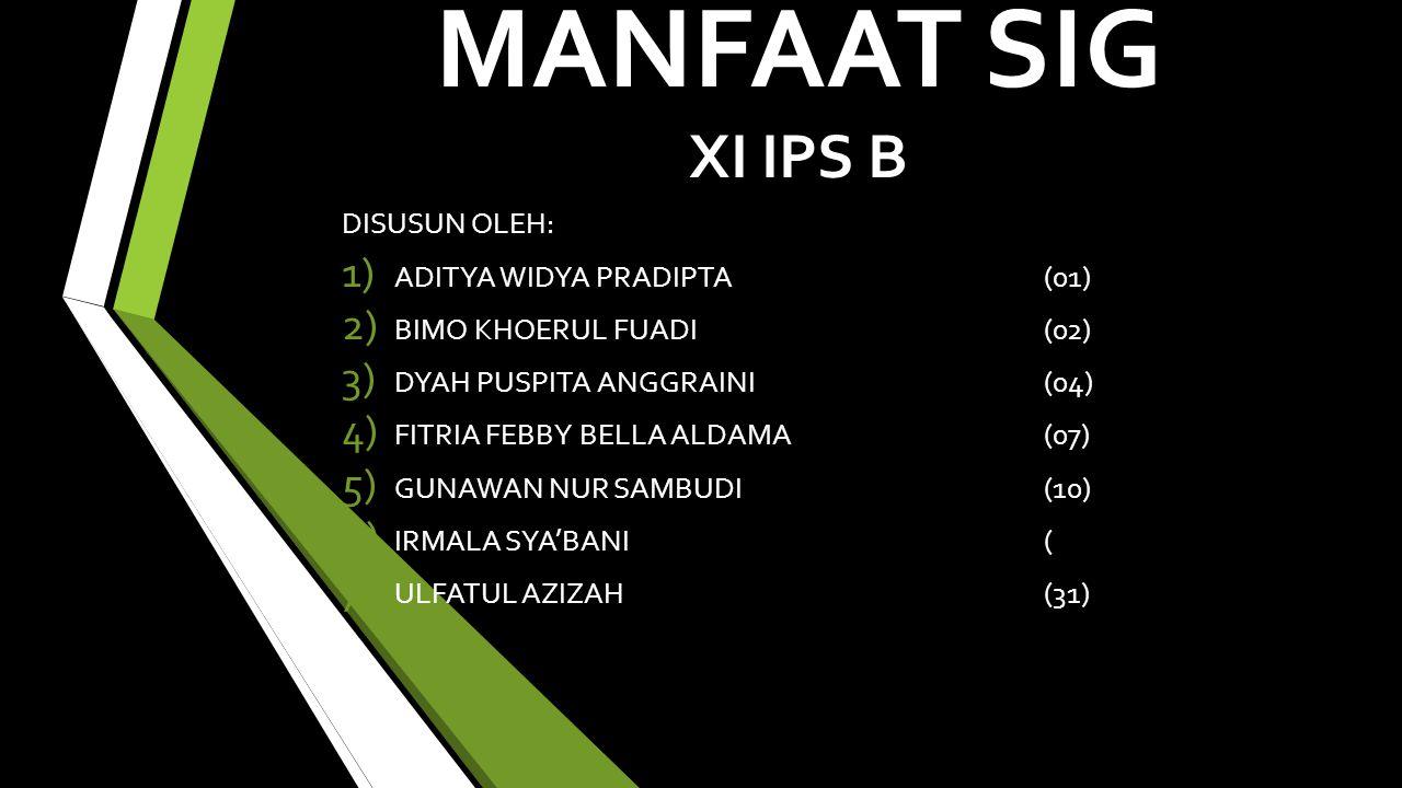 MANFAAT SIG XI IPS B DISUSUN OLEH: ADITYA WIDYA PRADIPTA (01)