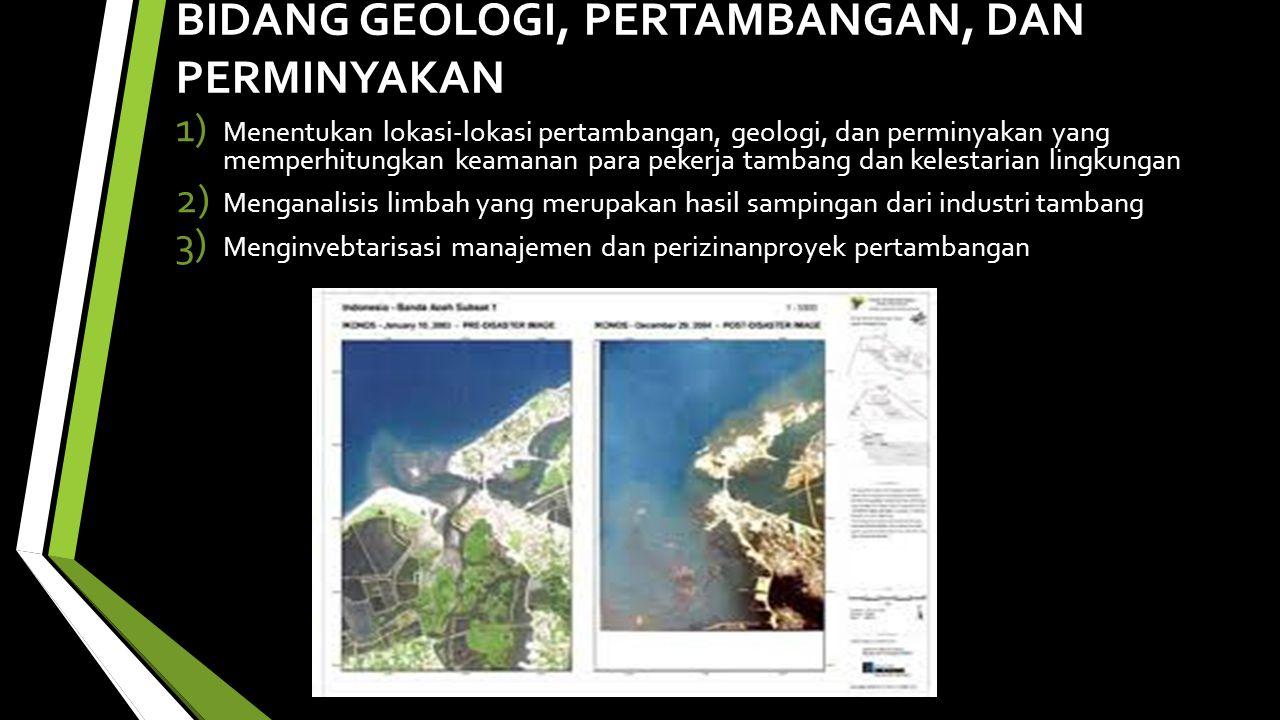 BIDANG GEOLOGI, PERTAMBANGAN, DAN PERMINYAKAN