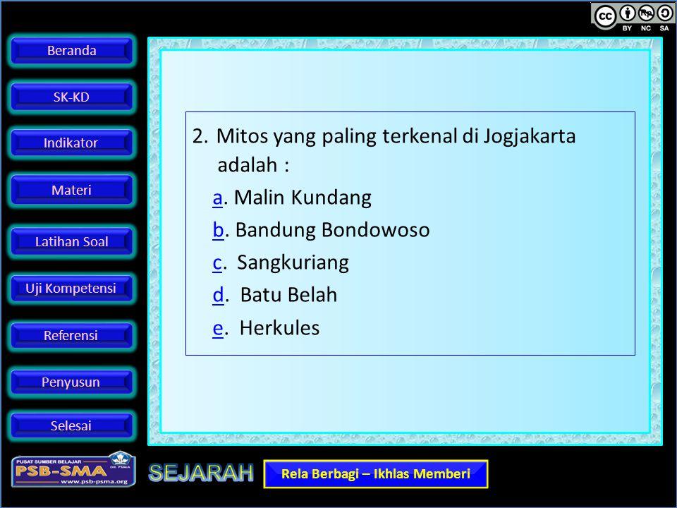 2. Mitos yang paling terkenal di Jogjakarta adalah : a.