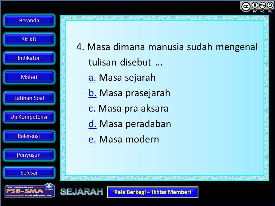 4. Masa dimana manusia sudah mengenal tulisan disebut. a