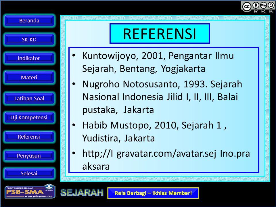 REFERENSI Kuntowijoyo, 2001, Pengantar Ilmu Sejarah, Bentang, Yogjakarta.