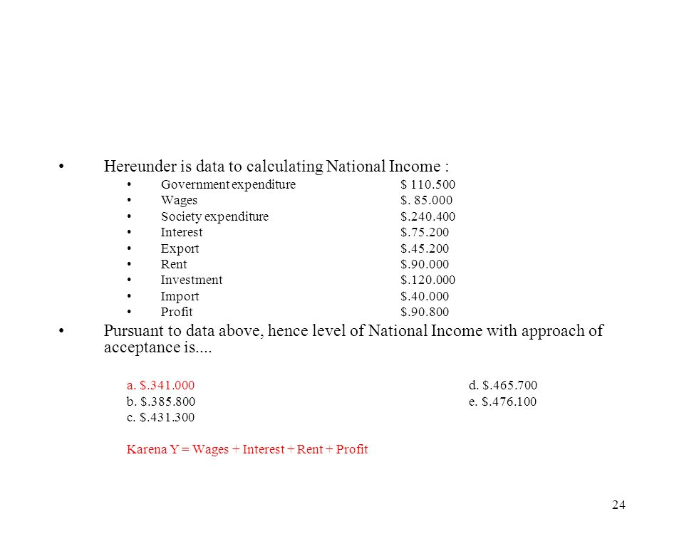 Hereunder is data to calculating National Income :