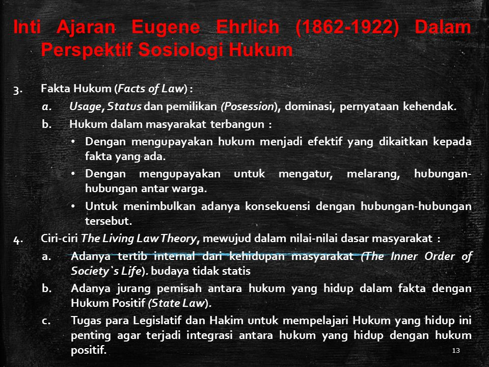 Inti Ajaran Eugene Ehrlich (1862-1922) Dalam Perspektif Sosiologi Hukum